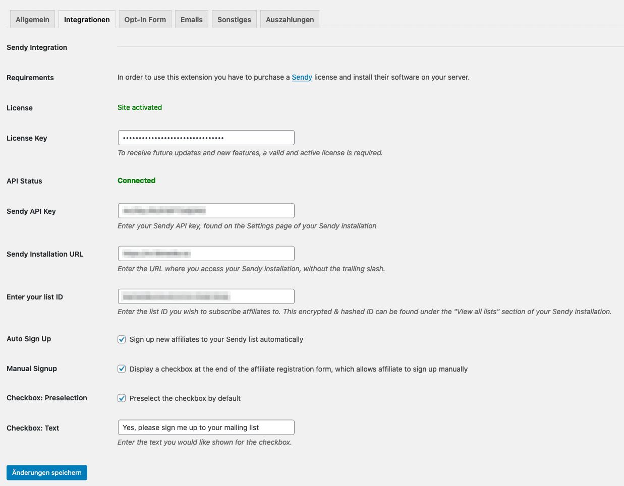 AffiliateWP Sendy - Plugin Settings
