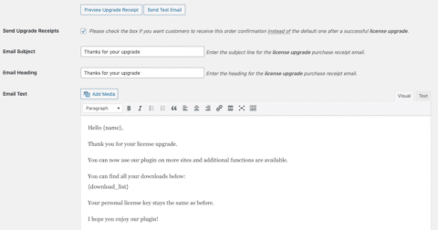 EDD Better Purchase Receipts - Upgrade Settings