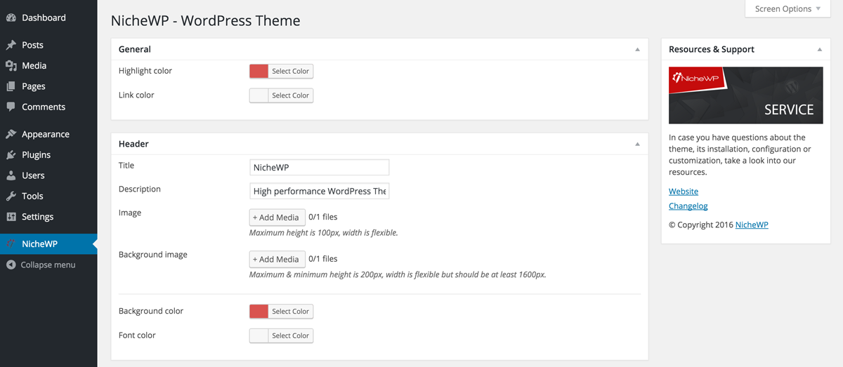 NicheWP WordPress Theme - Preview Settings
