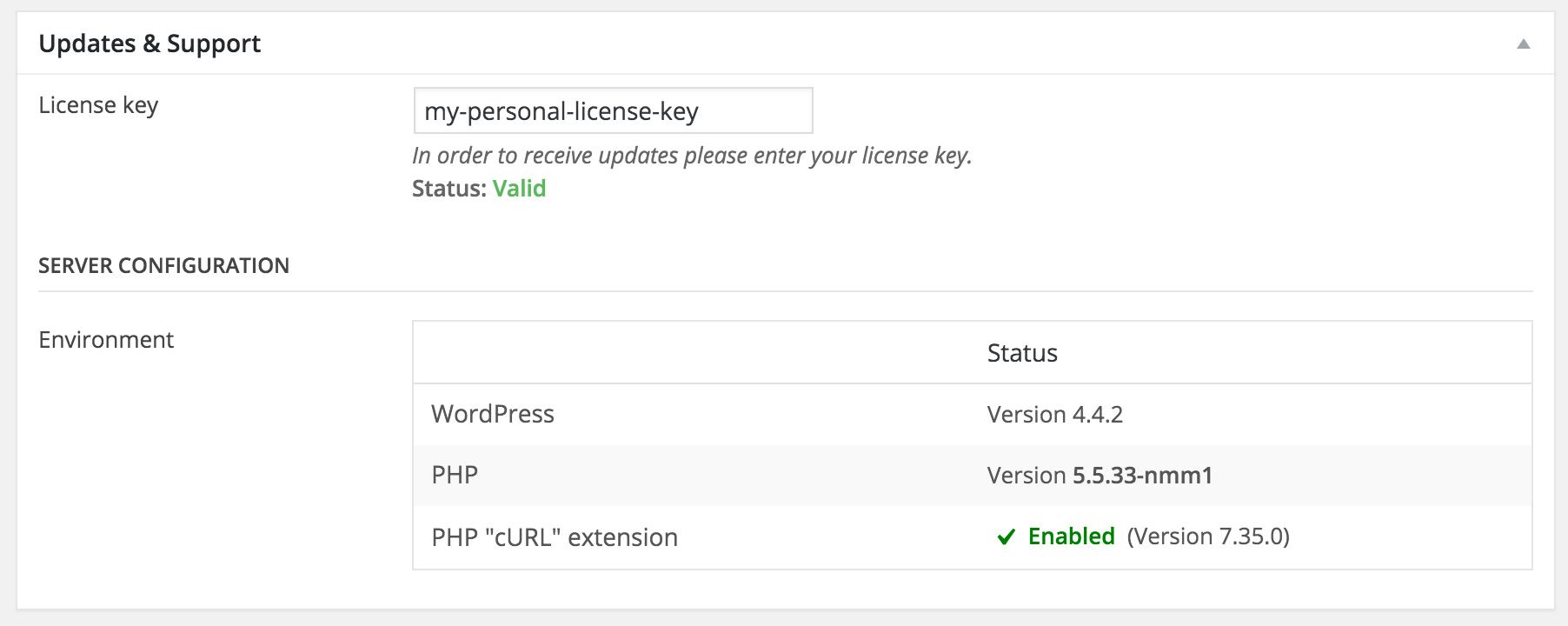 NicheWP WordPress Theme - Settings License Key